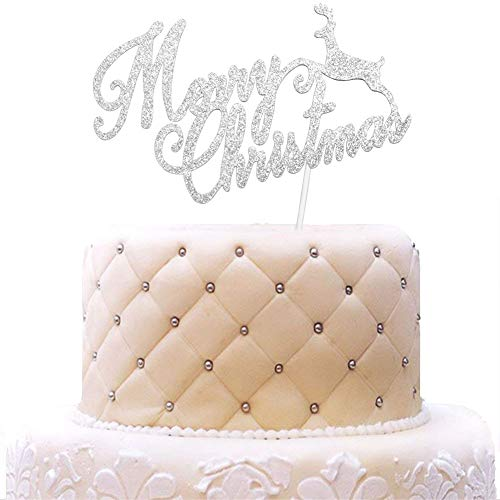 - Merry Christmas with Reindeer Cake Topper, Holiday Christmas Party Decorations Silver Glitter
