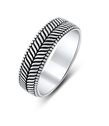 Sterling Silver Herring Bone Style Beaded Edge Eternity Wedding Band Ring (11)