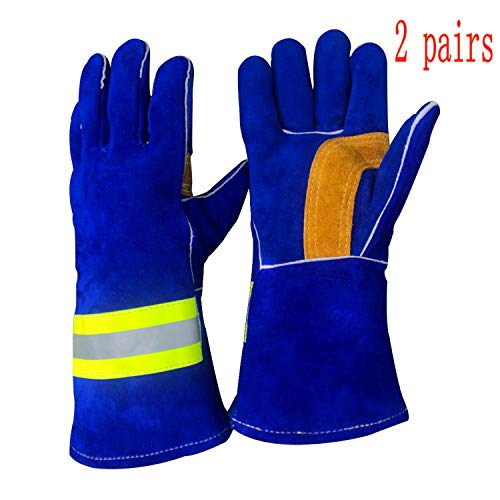 High Visibility Welding Gloves With Reflective Strip Heat and Fire Resistant Reflective Aluminum Cowhide Safety Gloves 2 Pairs 14