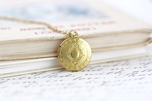 Etched Round Locket - Small Round Ornate Locket Necklace on a Delicate Gold Brass Chain