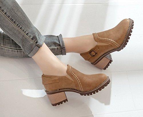 Aisun Femmes Boucle Vintage Sangle Bout Rond Robe Empilée Mi-talon Slip On Pumps Chaussures Marron