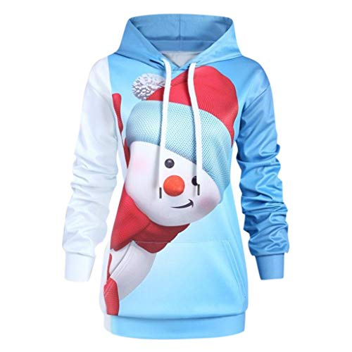 iLOOSKR Christmas Plus Size Hoodie Sweatshirt Women Cartoon Snowman Print Pocket Pullover Top Blue