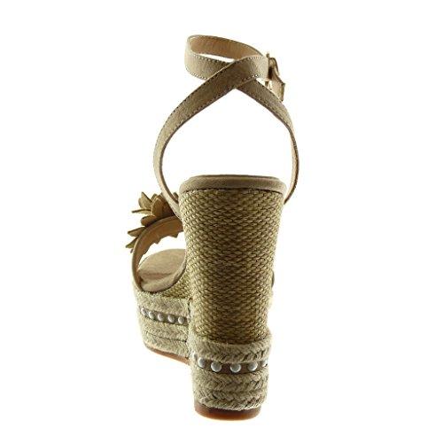 Plataforma Cm Perla Sandalias Mujer Moda Flores Tobillo Mules Zapatillas De Beige Cuerda 13 Correa Angkorly nvOIWxa