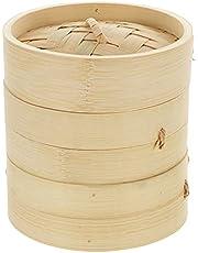 Yardwe 1 Set Bamboo Steamer Basket Handmade Bamboo Steamer with Lid Steamer Rack Dim Sum Dumpling Bao Bun for Asian Cooking Dim Sum Dumplings Fish Meat
