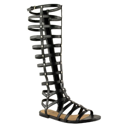 Fashion Thirsty Womens Cut Out Gladiator Sandals Flat Knee Boots Strappy Size ()