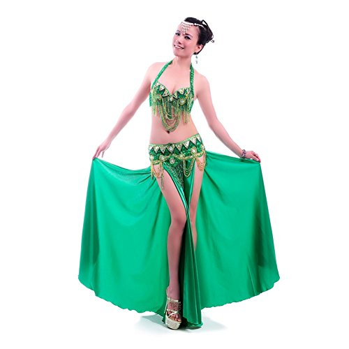 ROYAL SMEELA Professional Belly Dance Costume for Women, 3pcs Belly Dance Bra and Hip Belt and Long Dance Skirt, Sexy Belly Dancing Outfit, 11 Colors, 4 Sizes (S M L XL)
