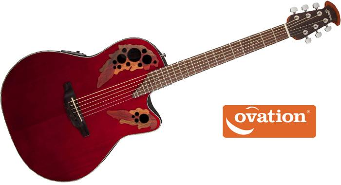 amazon com ovation ce44 rr acoustic electric guitar ruby red