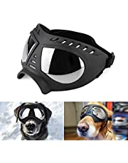 Namsan Dog Goggles - Large Breed Dogs Sunglasses Windproof Snowproof Pet Glasses for Long Nose Dogs, Soft Frame, Elastic Adjustable Straps, Black