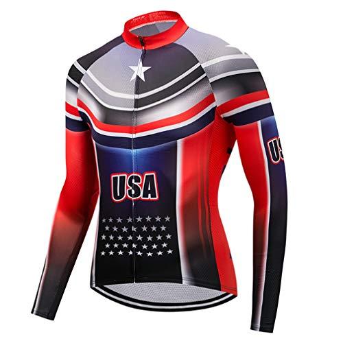 - WeimoMonkey Men's Cycling Jersey USA Bicycle Shirts Long Sleeve Bike Jersey Full Zipper Blue L
