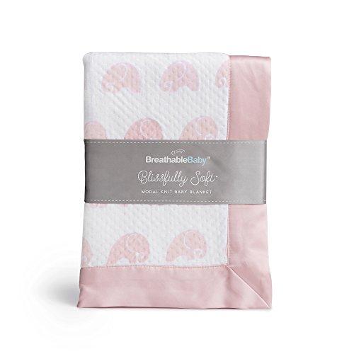 BreathableBaby Blissfully Soft Modal Knit Baby Blanket - Pink Elephant ()