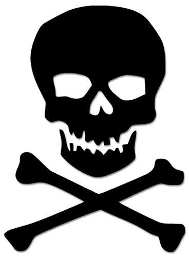 Death Skull Crossbones Pirate Jolly Roger Vinyl Decal Sticker For Vehicle Car Truck Window Bumper Wall Decor - [15 inch/38 cm Tall] - Matte BLACK Color