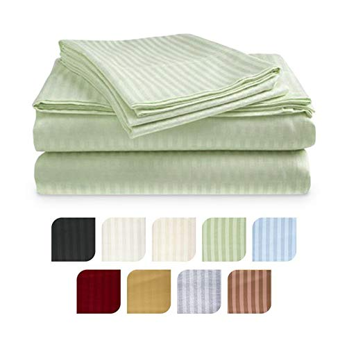 Crystal Trading 4-Piece Bed Sheet Set - Dobby Stripe - 100% Cotton Sateen - 300 Thread Count (King, Sage)