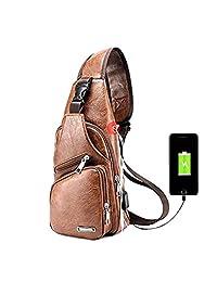 Popoti Bolsas Frontales Cruzadas, Mochila de Hombro de los Hombres Deporte de Cuero Daypack CrossbodyBolso de Bandolera Messenger Bag con Puerto USB para Viajes de Senderismo al Aire Libre Pecho