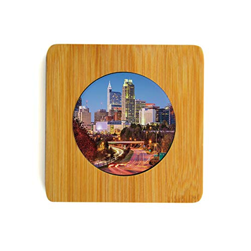 Coasters 6 Pack Eco-Friendly 100% Natural Bamboo Wood Coaster for Drinks Raleigh North Carolina USA Express Way Business District Building Skyscrapers Stylish Furniture Protection Multicolor (Raleigh Furniture North Carolina)