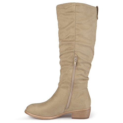Journee Collection Womens Faux Suede Secret Pocket Heeled Boots Taupe w9Iww