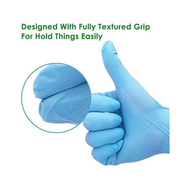 Powder Free Disposable Thicken 4 mil Latex Free Danlit 100 PCS Gloves Nitrile Exam Gloves with Textured Fingertips