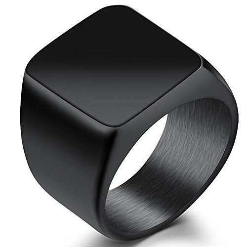 Jude Jewelers Stainless Steel Signet Ring Black Silver Gold Classical Cocktail Husband Father Valentine (Black, 6)