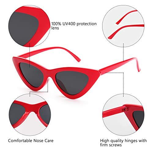 Livhò Retro Vintage Narrow Cat Eye Sunglasses for Women