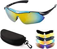 Sports Sunglasses, Cycling Glasses with 5 Interchangeable Lenses, Great for Cycling, Running, Fishing for Men