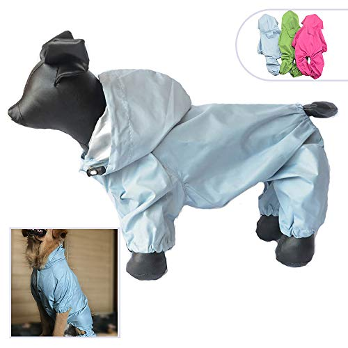 Pet Clothing Small Large Dog Rain Coat Waterproof Nylon 4 Legs Pet Raincoat Hoodie Perfect For Small Middle Large Size Dogs Breed Female Male Dog Rain Coat Outdoor Outerwear DRC-Lsgm (L-M, Skyblue)