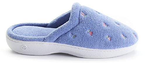 Isotoner Womens Terry Embroidered Scalloped Clog Denim Flowers 2K9Zk4