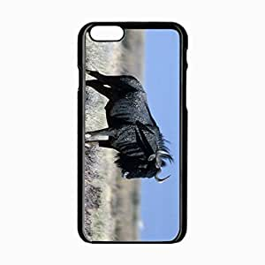 iPhone 6 Black Hardshell Case 4.7inch wildebeest grass horn Desin Images Protector Back Cover