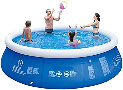 Inflatable Top Ring Swimming Pools Outdoor Ground Set Round Swimming Pool For Kids Or Adults Garden Lawn Blue 10 Ft X 30 In Garden Outdoor