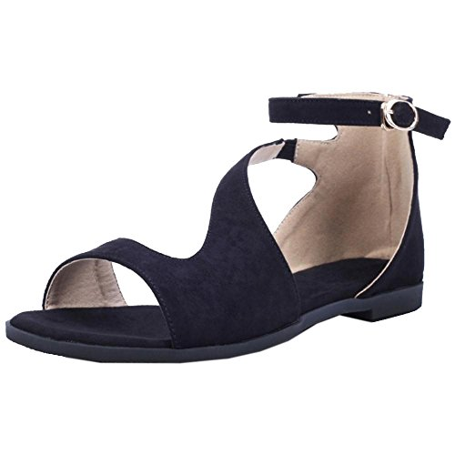 Black Sandalias Bajo Mujer RAZAMAZA Tacon Zapatos XPqWwp