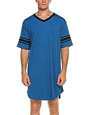 LIULIU Mannen Katoen Nachtshirt Zachte Korte Mouw Losse Pyjama Tops Oversized Slaap Shirt Plus