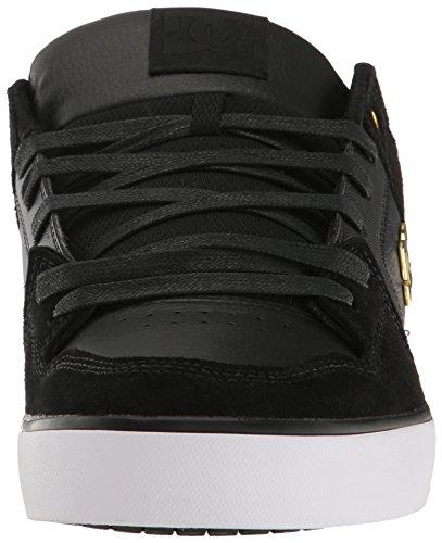 DC - Zapatillas de deporte de cuero para hombre negro y dorado