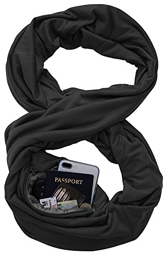 (Travel Scarf Infinity Scarf with Hidden Pocket for Lipstick,Iphone,Passport,Pattern Print Lightweight Wrap,Secret Zipper Pocket Fashion Scarf)