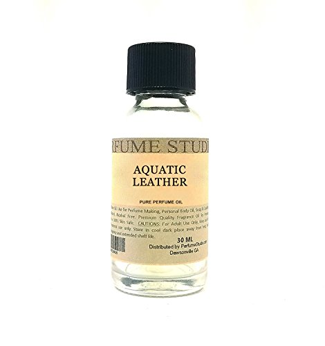 Perfume Making, Personal Body Oil, Soap, Candle Making & Incense; Splash-On Clear Glass Bottle. Premium Quality Undiluted & Alcohol Free (1oz, Aquatic Leather) (Aquatic Fragrance)