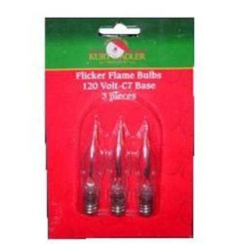 Kurt Adler C7 Flicker Flame Replacement Bulbs For UL0702 and UL0740 - 3 Pieces