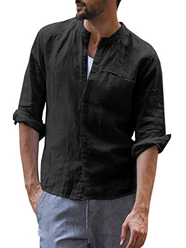 Mens Casual Linen Shirt Button Down Cotton Stand Collar Long Sleeve Curved Hem Basic Regular Fit Tops (X-Large, B-Black) ()