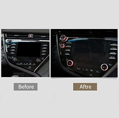 GeeGee Accessories Center Console Knobs AC Air Conditioning Button Audio Voice Volume Control Knob Rear Mirror Knob Switch Cover Trim Decals For Toyota Camry 2018 2019 5PCs