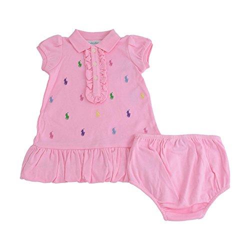 Ralph Lauren Baby Girls Embroidered Interlock Knit Polo Dress Set (3 Months, Carmel PInk) (Interlock Embroidered)
