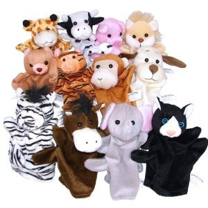 1 Dozen Velour Animal Hand Puppets