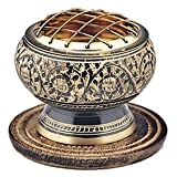 India Small Decorated Brass Charcoal Screen Incense Burner with Wooden Coaster