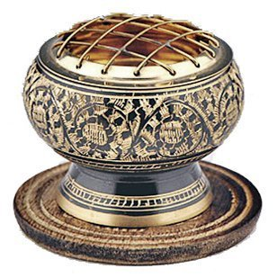 New Age Imports, Inc. India Small Decorated Brass Charcoal Screen Incense Burner with Wooden Coaster