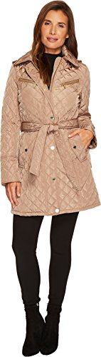 MICHAEL Michael Kors Womens Belted Quilt With Hood M421257CZ Truffle LG One Size - Michael Kors Womens Coats