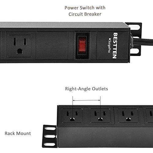 Bestten 8 Outlet Rack-Mount PDU, 1U/ 15A/125V, Aluminum Alloy 900J Surge Protector Power Strip, 9 Feet Cord, ETL Certified, Black by BESTTEN (Image #5)