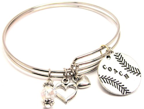 Softball Wire - Coach Baseball Softball Adjustable Wire Bangle Bracelet