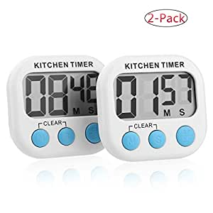 2 Pack- Digital Kitchen Timer/ Cooking Timer/Online Timer /Countdown Timer /Clock Timer with Large Display Screen, Loud Sounding Alarm, Strong Magnetic Backing, Retractable Stand, White