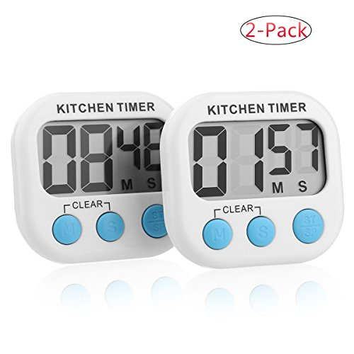 2 Pack- Digital Kitchen Timer/ Cooking Timer/Online Timer /Countdown Timer /Clock Timer with Large Display Screen, Loud Sounding Alarm, Strong Magnetic Backing, Retractable Stand, White - Cooks Club Digital Timer