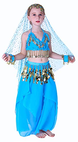 Seawhisper Blue Aladdin Halloween Costumes for Girls Belly Dancer Costume Accessories Kids 6 7 8 for $<!--$28.99-->