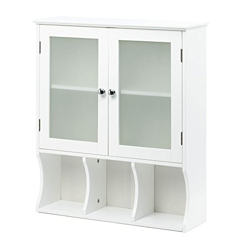 Kitchen Pantry Storage Cabinet, Display Glass Door Cabinet Organizer Wood(white) by Accent Plus