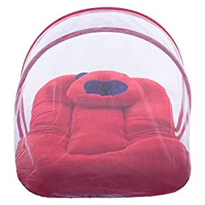 Home Gold New Born Baby Sleepng Bed Cotton Fabric Kids Bedding Set Luxury Bassinet and Cradle with Mosquito Net,Red, 0-5…