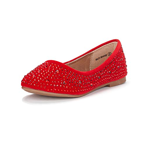DREAM PAIRS Big Kid Muy-Shine Red Suede Girl's Mary Jane Ballerina Flat Shoes - 4 M US Big Kid