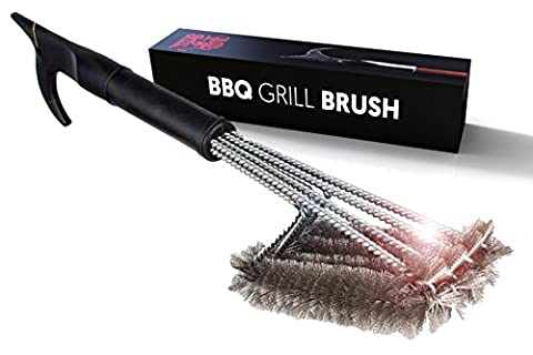 """18"""" 4-in-1 Head Steel Bristle Grill Cleaning Brush   Lifetime Replacement   Scrape Your BBQ, Grill, or Smoker and More   Firefighter Designed in the USA   Clean Your Barbecue Like A - Kitchen Grill Brush"""