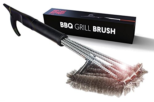 "Best BBQ Grill Brush 4-in-1 Head Design | 18"" Grill Cleaner - Safe Tool 